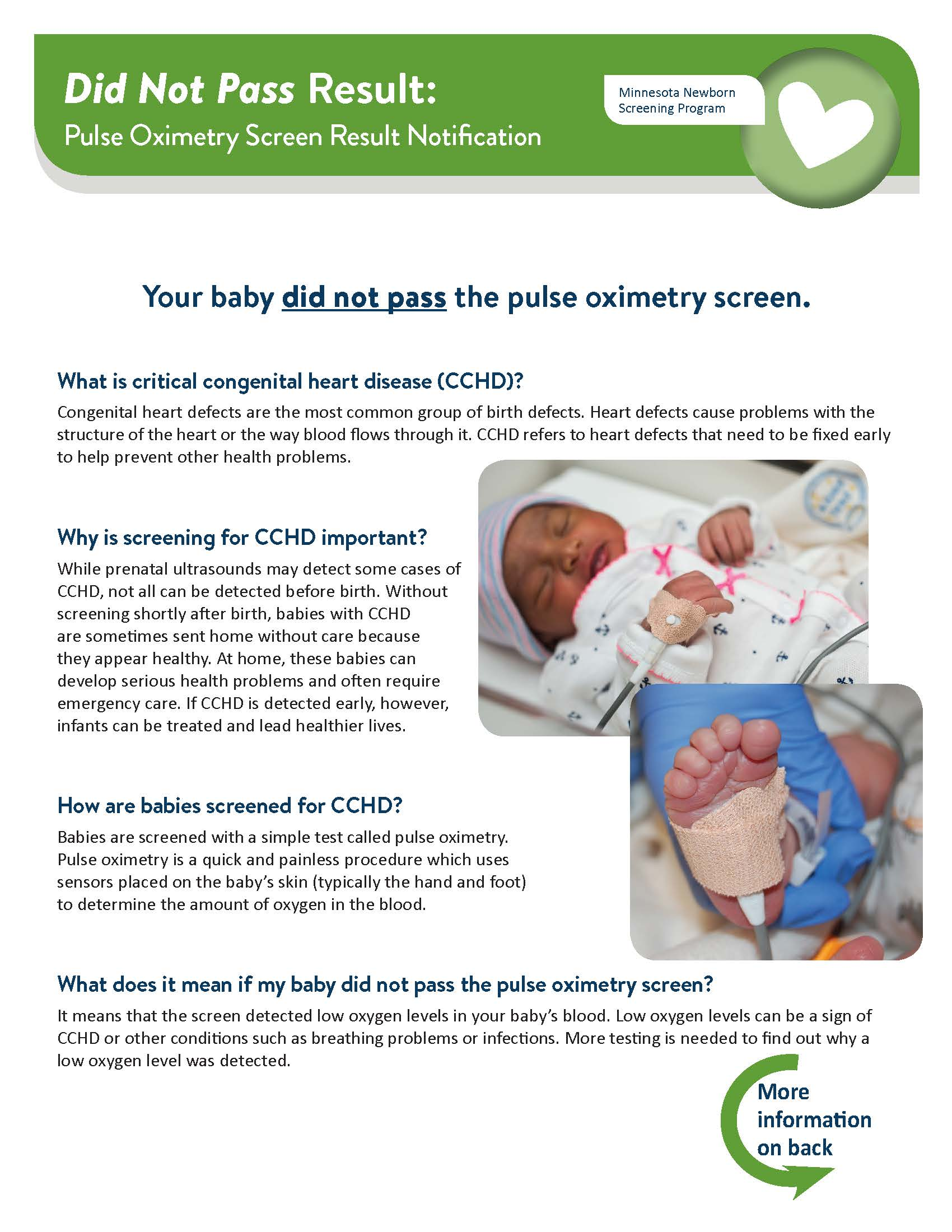 Newborn Pulse Oximetry Screening Did Not Pass Result Notification