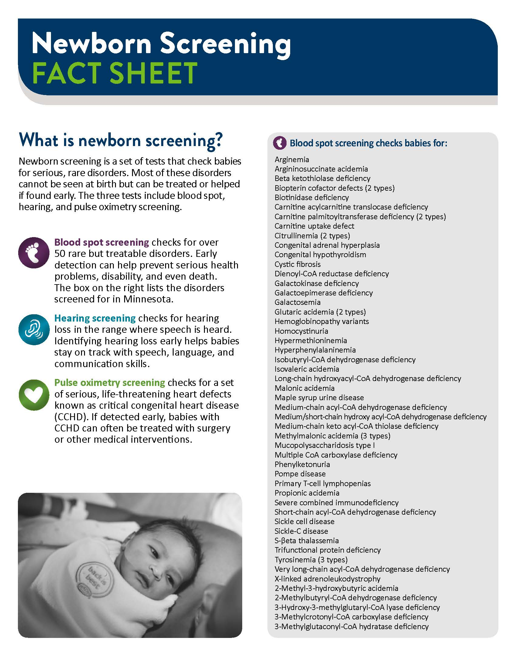 Minnesota Newborn Screening Fact Sheet