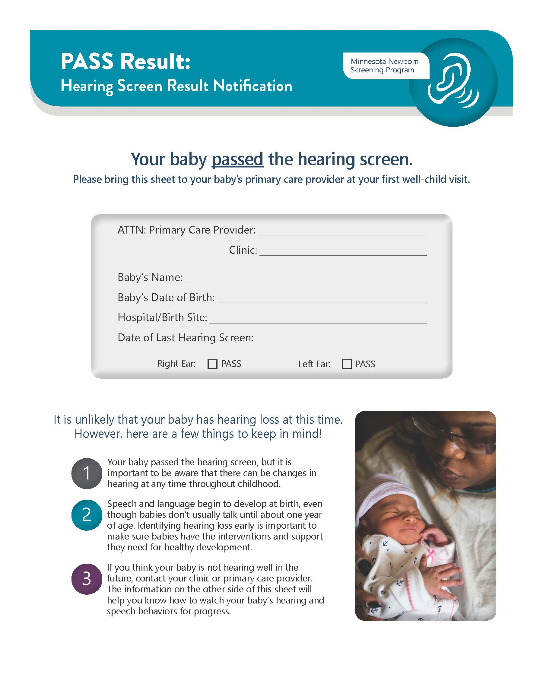 Newborn Hearing Screening Pass Result Notification