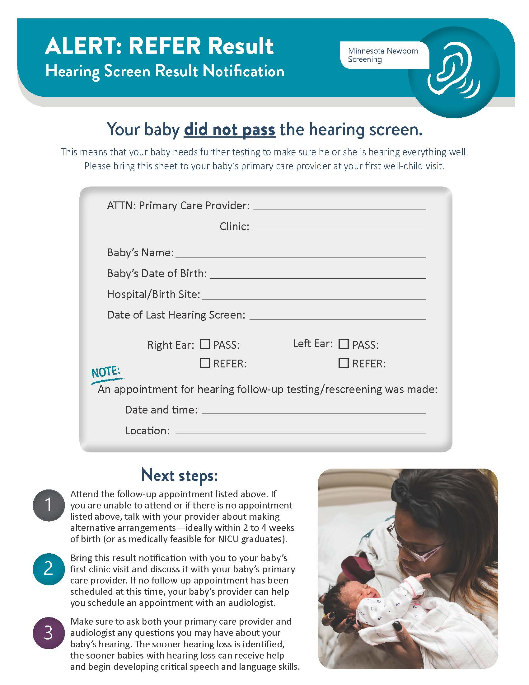 Newborn Hearing Screening Refer Result Notification